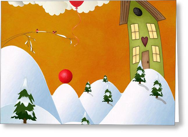 Snow Scene Landscape Greeting Cards - Just Let Go Greeting Card by L Wright