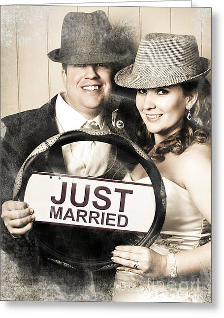Just Married Greeting Cards - Just married bride and groom driving to honeymoon Greeting Card by Ryan Jorgensen