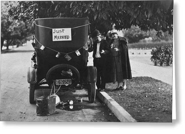 Just Married Greeting Cards - Just Married Silent Film Scene Greeting Card by Underwood Archives
