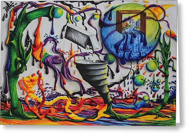 Drip Drawings Greeting Cards - Just My Imagination II Greeting Card by Carol Frances Arthur