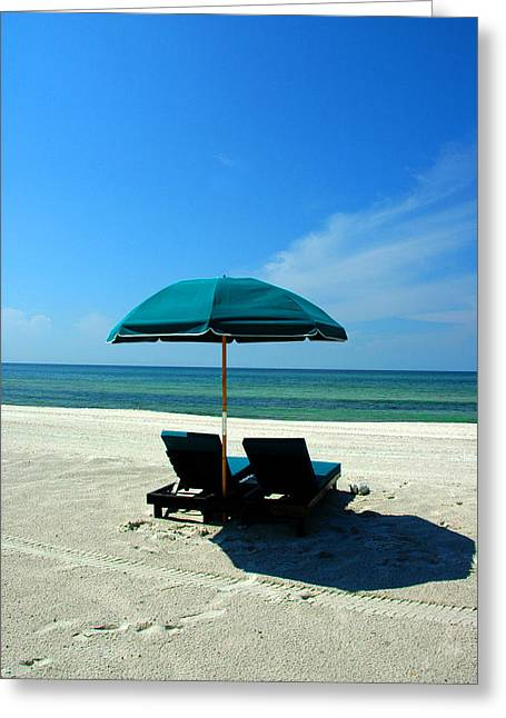 Blue Umbrella Greeting Cards - Just the two of us Greeting Card by Susanne Van Hulst
