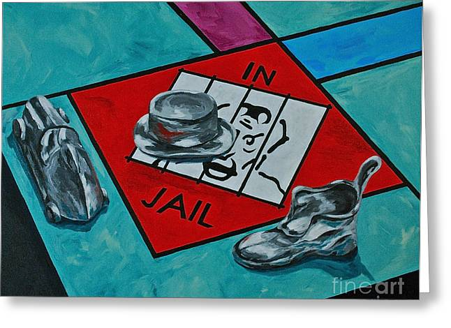 Monopoly Paintings Greeting Cards - Just Visiting  Greeting Card by Herschel Fall