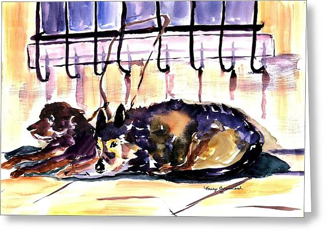 Grate Mixed Media Greeting Cards - Just Waiting Greeting Card by Nancy Brennand