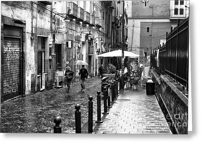 Old Street Greeting Cards - Just Walking in the Rain Greeting Card by John Rizzuto