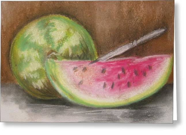 Watermelon Drawings Greeting Cards - Just Watermelon Greeting Card by Leslie Manley