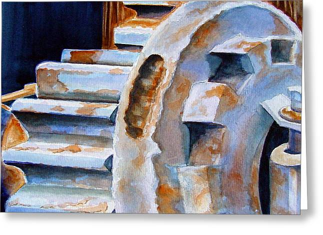 Gear Paintings Greeting Cards - Just Wont Budge Greeting Card by Marsha Elliott