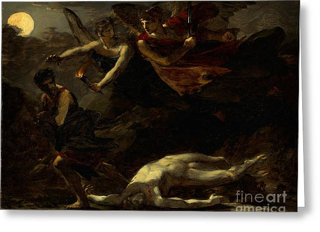 Justice Paintings Greeting Cards - Justice and Vengeance Pursuing Crime Greeting Card by Celestial Images