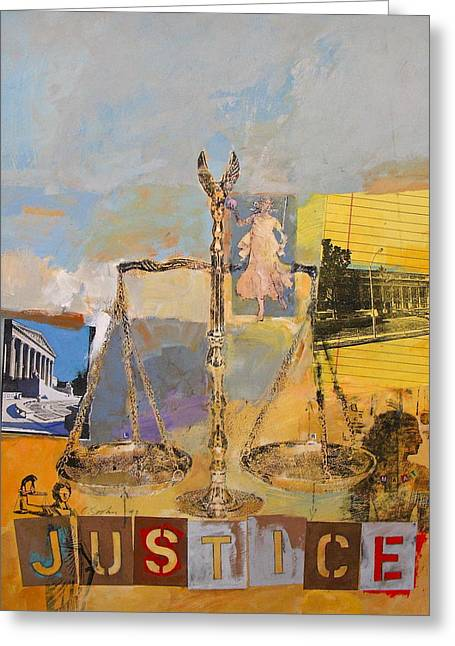 Transfer Mixed Media Greeting Cards - Justice Greeting Card by Cliff Spohn