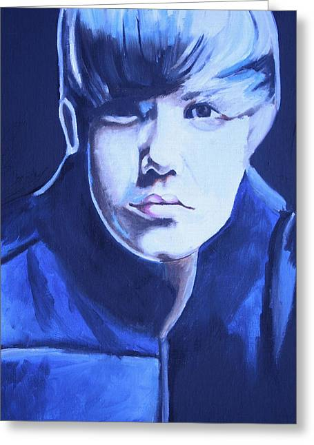 Justin Bieber Paintings Greeting Cards - Justin Bieber Portrait Greeting Card by Mikayla Henderson