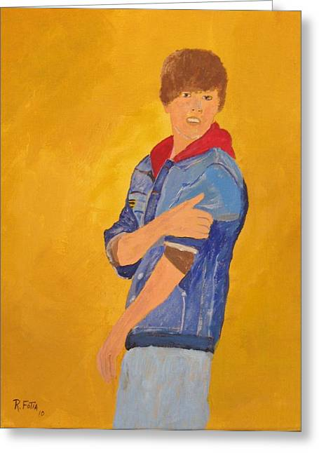 Justin Bieber Paintings Greeting Cards - Justin Bieber Greeting Card by Rich Fotia