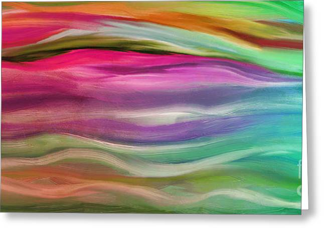 Warm Tones Greeting Cards - Juxtaposition Abstract Waves Greeting Card by Mindy Sommers