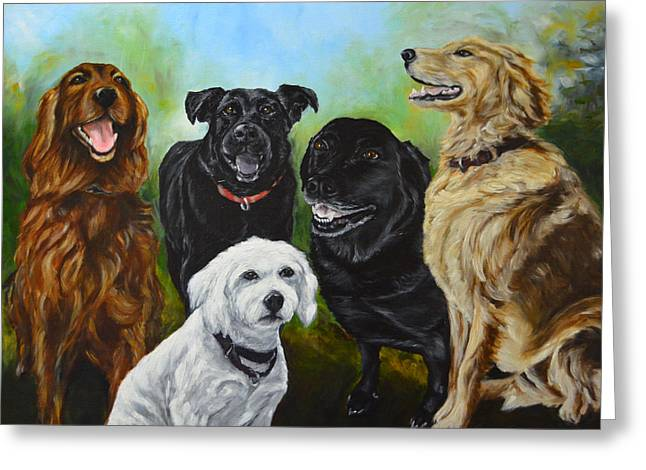 Custom Commissioned Pet Portrait From Photos Greeting Cards - K-9 group dog portrait painting Greeting Card by Sun Sohovich