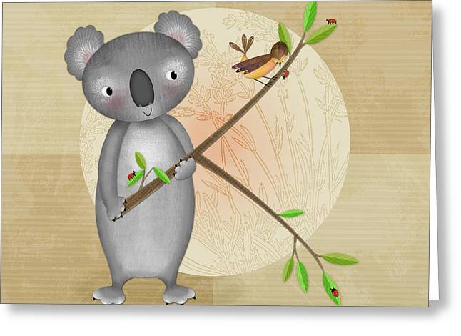 Valerie Lesiak Greeting Cards - K is for Koala Greeting Card by Valerie   Drake Lesiak