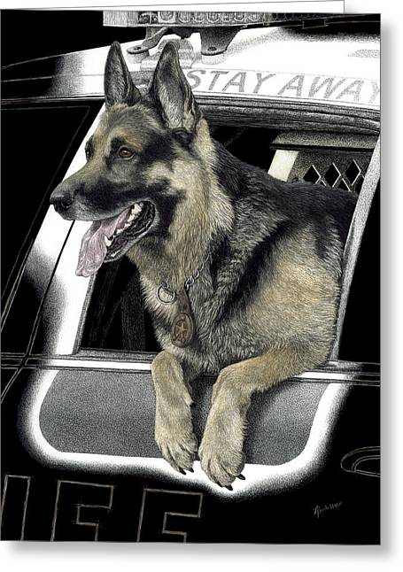 Working Dog Drawings Greeting Cards - K9 Ronin Greeting Card by Ann Ranlett