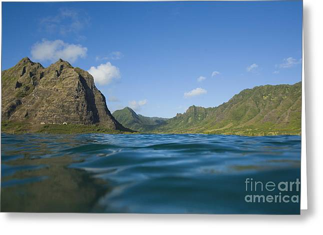 Best Sellers -  - Pastureland Greeting Cards - Kaaawa Valley from Ocean Greeting Card by Dana Edmunds - Printscapes