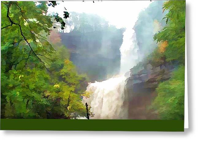 River Flooding Paintings Greeting Cards - Kaaterskill Falls Flooding Greeting Card by Lanjee Chee