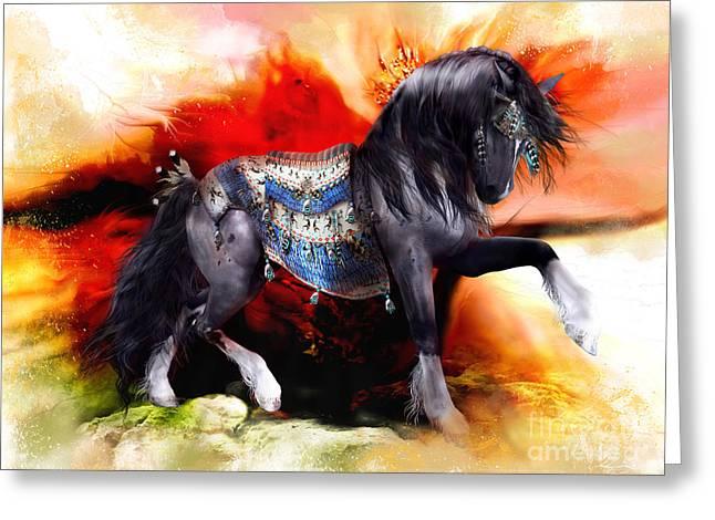 Big Sky Greeting Cards - Kachina Hopi Spirit Horse  Greeting Card by Shanina Conway