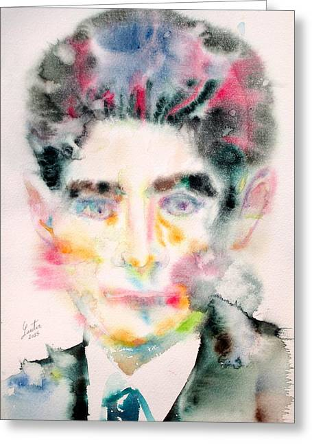 Franz Kafka Greeting Cards - KAFKA - watercolor portrait Greeting Card by Fabrizio Cassetta
