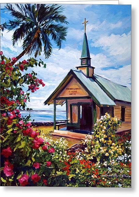 kahaalu Church Hawaii Greeting Card by David Lloyd Glover