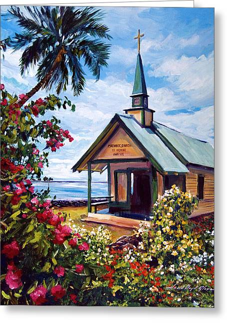 Hawaiin Greeting Cards - kahaalu Church Hawaii Greeting Card by David Lloyd Glover