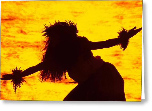 Gold Hair Greeting Cards - Kahiko Hula Greeting Card by Ron Dahlquist - Printscapes
