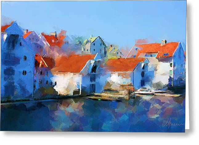 Wooden Building Paintings Greeting Cards - Kai Haugesund  Greeting Card by Michael Greenaway