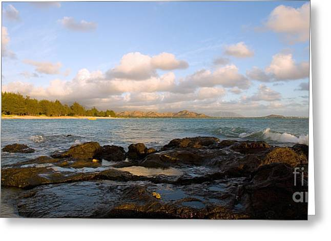 Ocean Panorama Greeting Cards - Kailua Bay Sunrise Greeting Card by Dana Edmunds - Printscapes