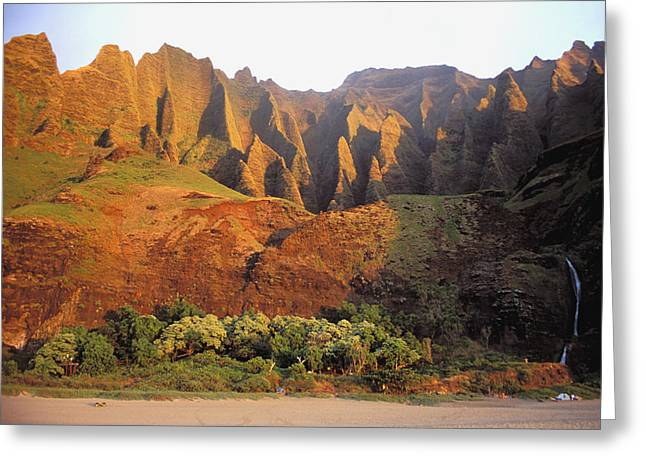 Shades State Park Greeting Cards - Kalalau Mountains Greeting Card by Himani - Printscapes
