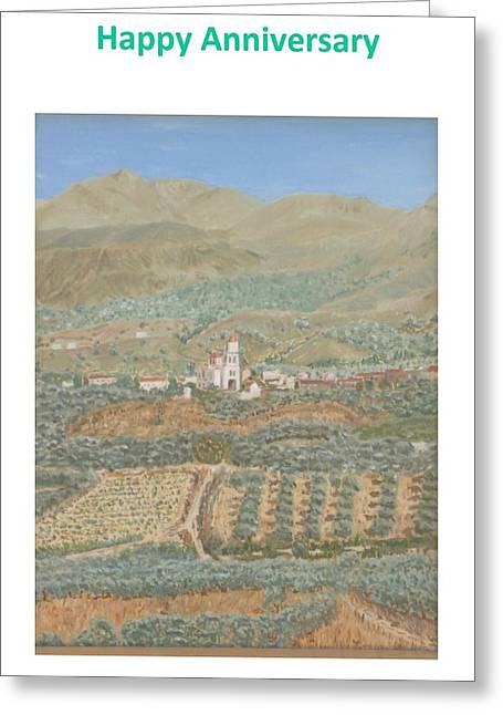 Greece Vineyards Greeting Cards - Kalamitsi Anniversary card Greeting Card by David Capon