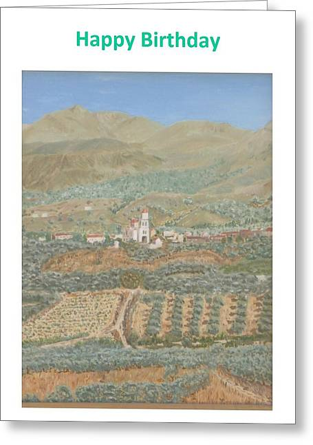 Greece Vineyards Greeting Cards - Kalamitsi Birthday Card Greeting Card by David Capon