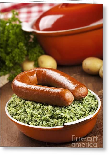 Kale With Smoked Sausage Or Boerenkool Met Worst Greeting Card by Sara Winter