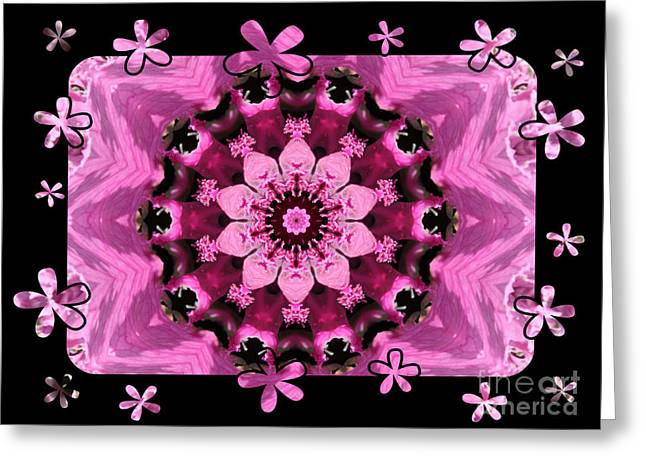 Teen Greeting Cards - Kaleidoscope 1 with Black Flower Framing Greeting Card by Carol Groenen