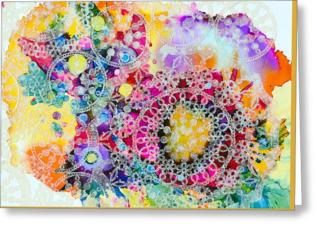 Lacy Collage Greeting Cards - Kaleidoscope - A Greeting Card by Sandy Sandy