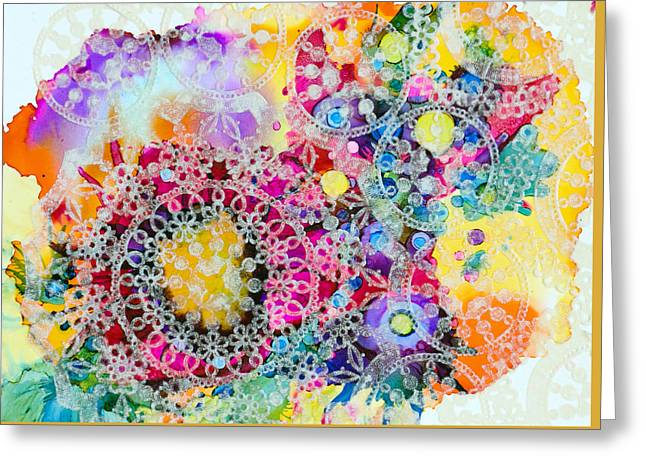 Lacy Collage Greeting Cards - Kaleidoscope - C Greeting Card by Sandy Sandy