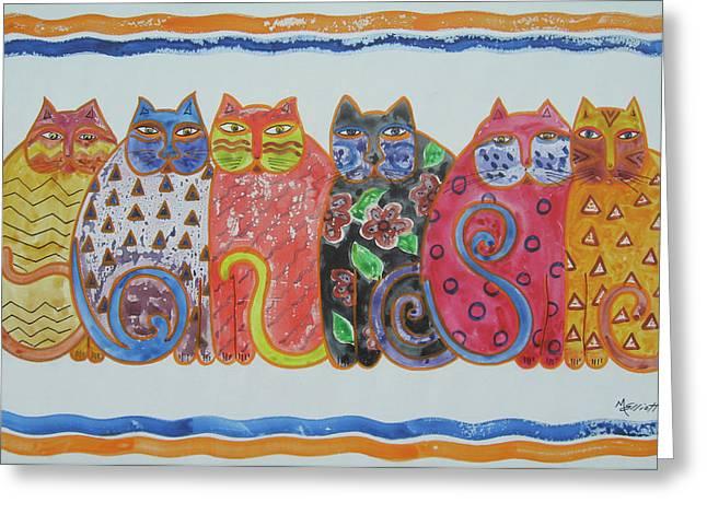 Kalico Kitties Greeting Card by Marsha Elliott