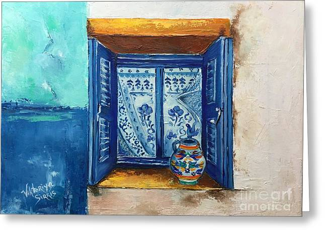 Kalimera Greece Greeting Card by Viktoriya Sirris