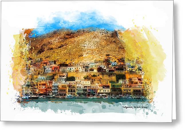 Boats In Water Mixed Media Greeting Cards - Kalymnos Greek Island Greeting Card by Justyna JBJart