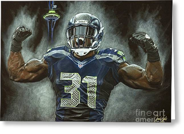 Kam Chancellor Seattle Seahawks Greeting Card by Jordan Spector