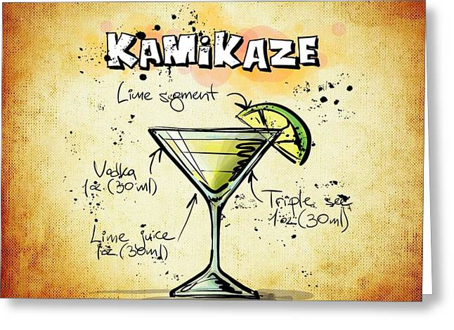 Bartender Drawings Greeting Cards - Kamikaze Recipe Greeting Card by Alexas Fotos