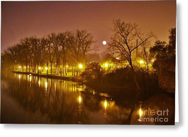 Kamm Island By Lamp Post Lights With Moonrise    Autumn      Indiana    Greeting Card by Rory Cubel