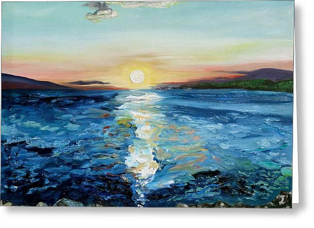 Pleinair Greeting Cards - Kanaio Sunset / Between the Split Greeting Card by Joseph Demaree