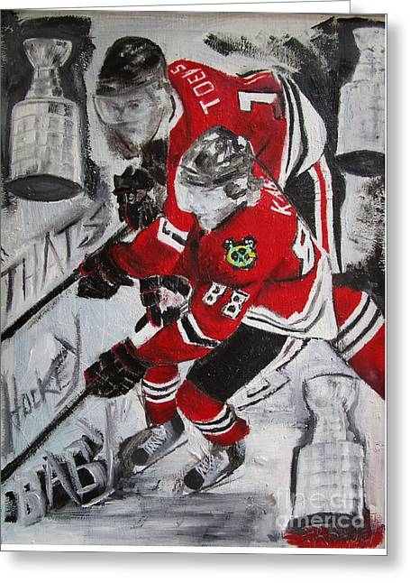 Hockey Paintings Greeting Cards - Kane Toews 3 Cups Greeting Card by John Sabey Jr
