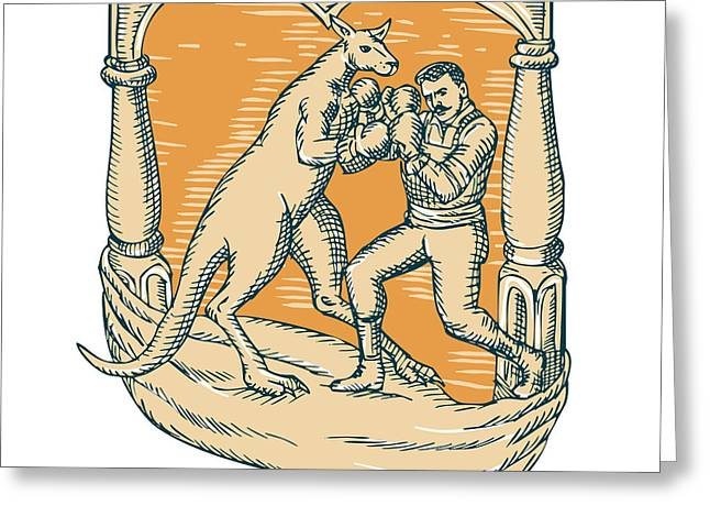 Boxer Digital Art Greeting Cards - Kangaroo Boxing Man Etching Greeting Card by Aloysius Patrimonio