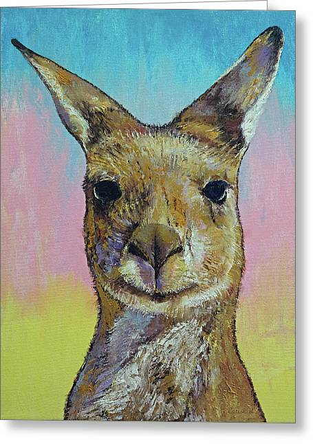 Kangaroo Greeting Card by Michael Creese