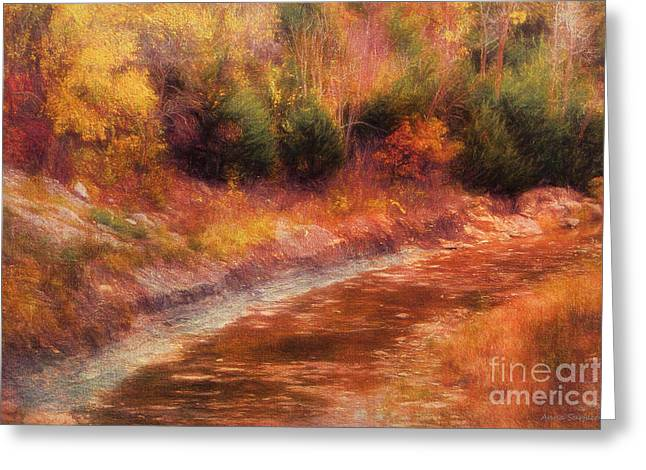 Stream Digital Greeting Cards - Kansas Autumn Creek Greeting Card by Anna Surface