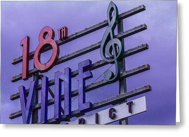 Kansas City 18th And Vine Sign Greeting Card by Steven Bateson
