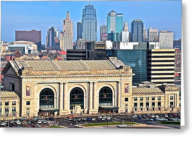 Veterans Stadium Greeting Cards - Kansas City Behind Union Station Greeting Card by Frozen in Time Fine Art Photography