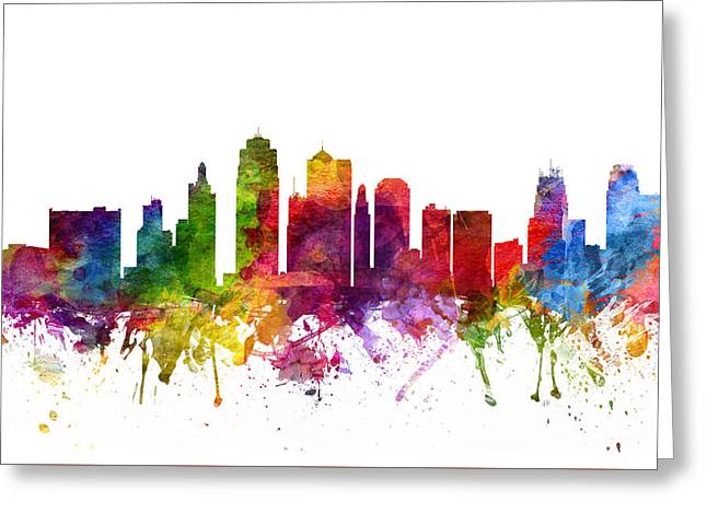 Kansas City Skyline Greeting Cards - Kansas City Cityscape 06 Greeting Card by Aged Pixel
