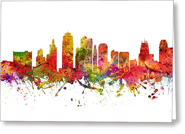 Kansas City Skyline Greeting Cards - Kansas City Cityscape 08 Greeting Card by Aged Pixel