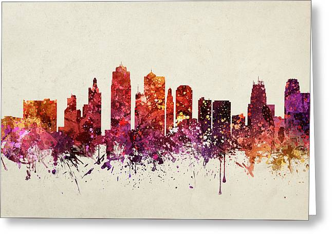 Kansas City Skyline Greeting Cards - Kansas City Cityscape 09 Greeting Card by Aged Pixel